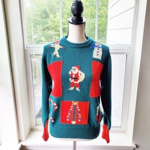 Vintage Hand Knitted Christmas Wool Sweater | M